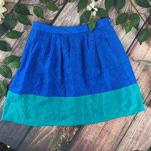 J.Crew Size 2 Blue Green Semi Sheer Pleated Skirt